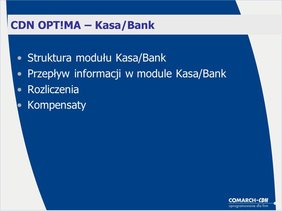 Struktura modułu Kasa/Bank Przepływ informacji w module Kasa/Bank