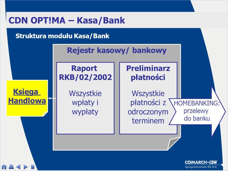 Rejestr kasowy/ bankowy Preliminarz płatności
