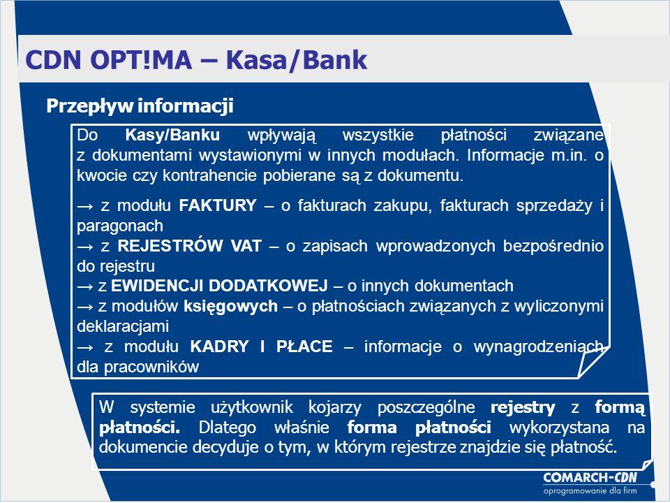 CDN OPT!MA – Kasa/Bank Przepływ informacji