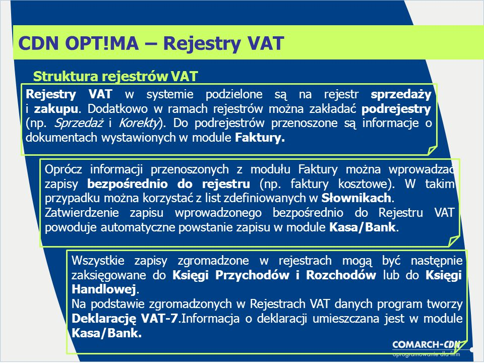 CDN OPT!MA – Rejestry VAT