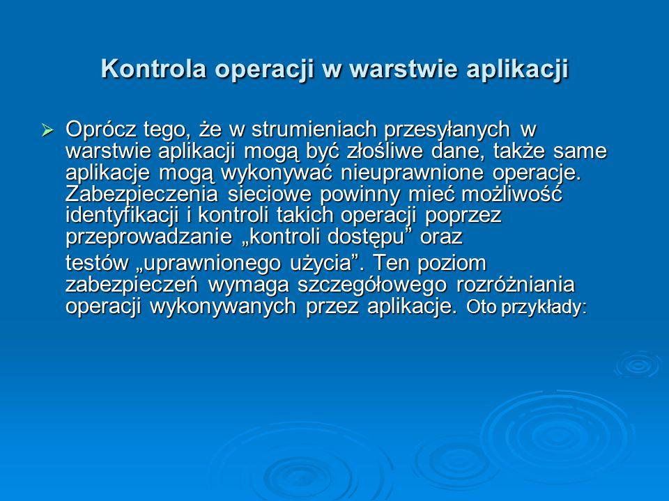 Kontrola operacji w warstwie aplikacji