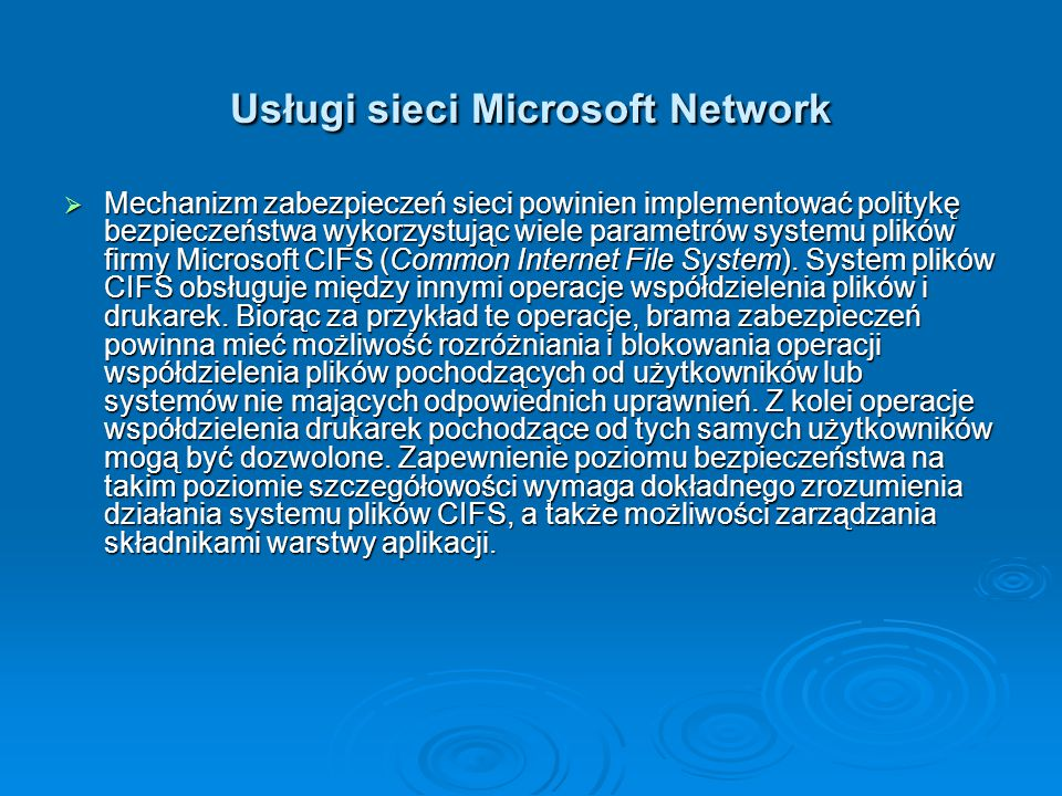 Usługi sieci Microsoft Network