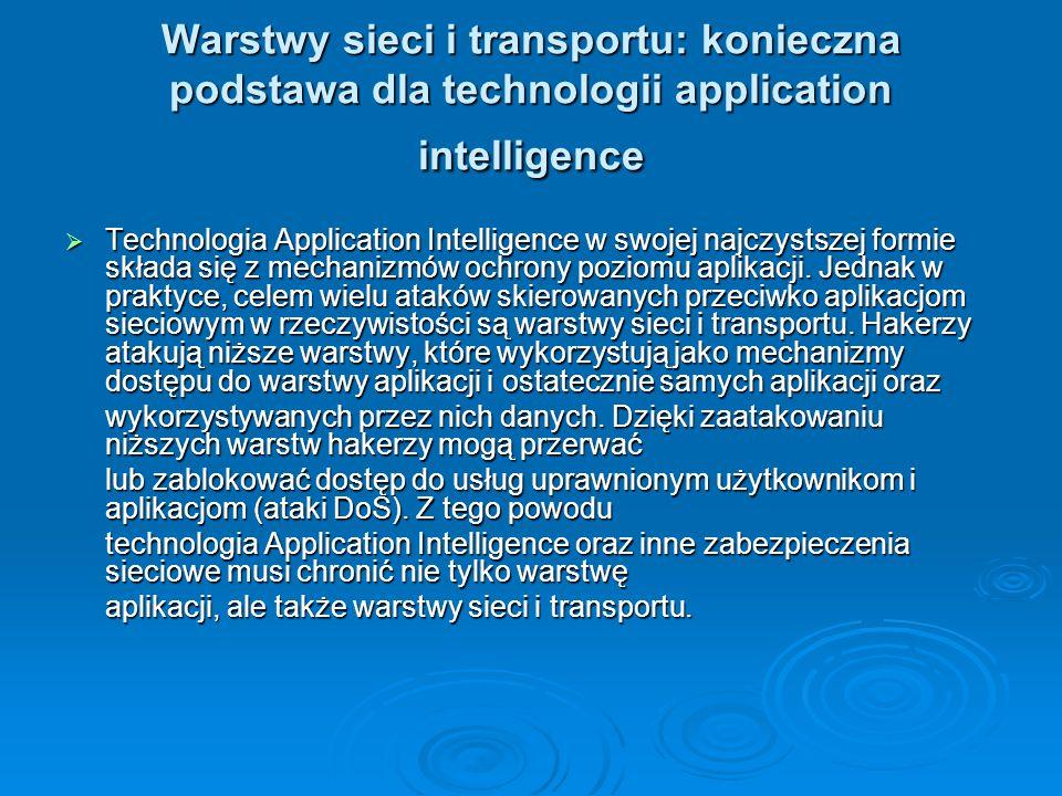 Warstwy sieci i transportu: konieczna podstawa dla technologii application intelligence