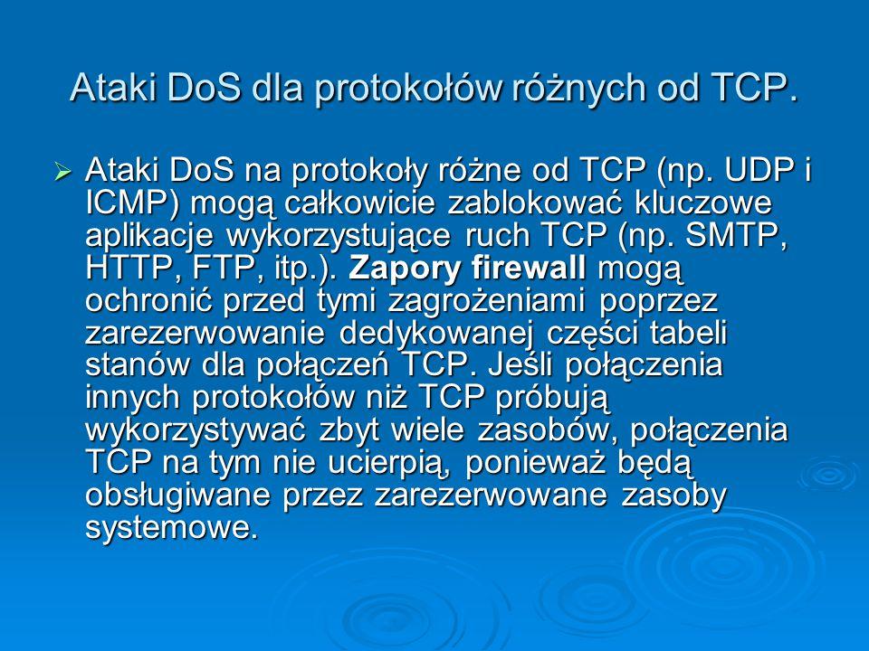 Ataki DoS dla protokołów różnych od TCP.