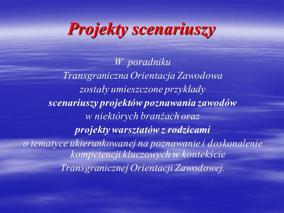 Projekty scenariuszy W poradniku Transgraniczna Orientacja Zawodowa