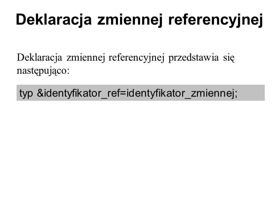 Deklaracja zmiennej referencyjnej