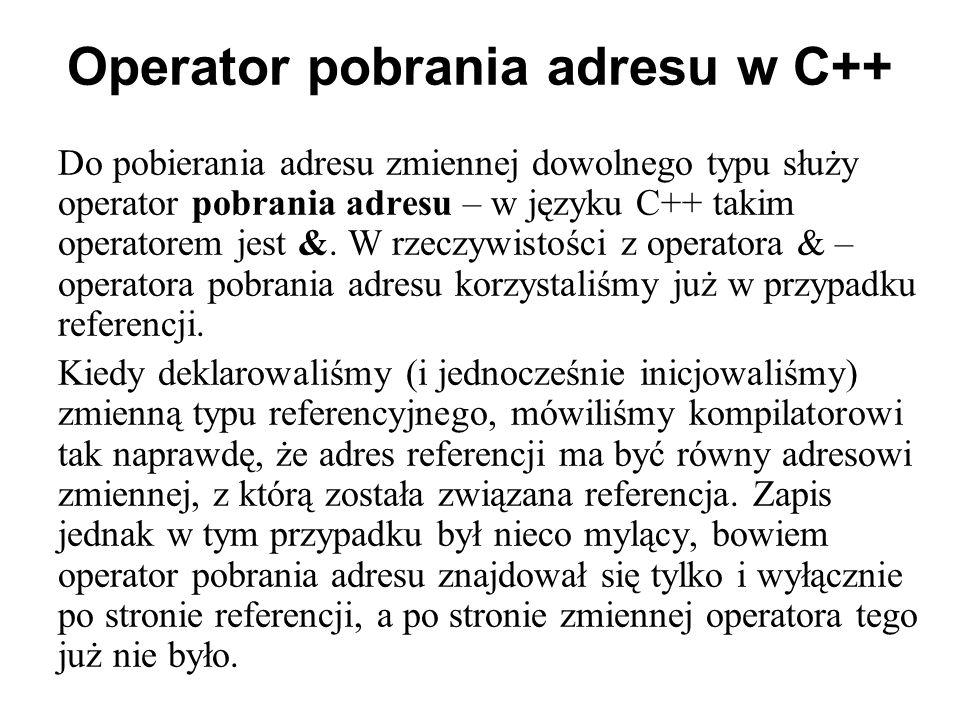 Operator pobrania adresu w C++