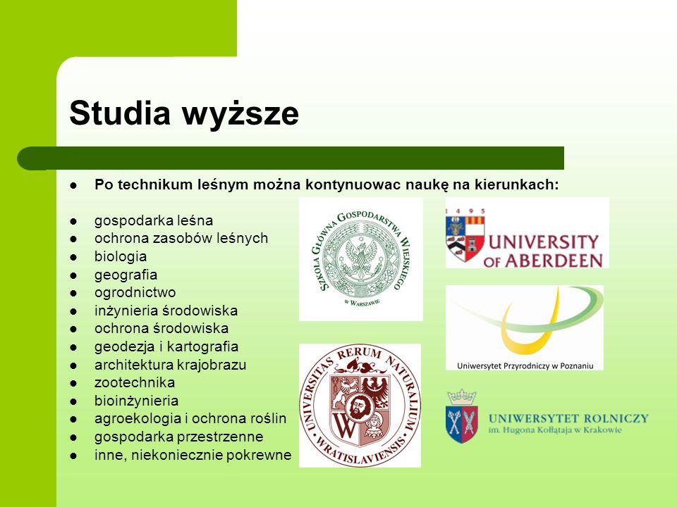 Studia wyższe Po technikum leśnym można kontynuowac naukę na kierunkach: gospodarka leśna. ochrona zasobów leśnych.