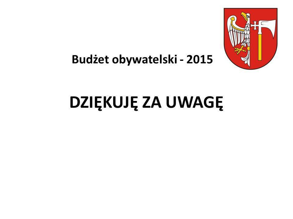 DZIĘKUJĘ ZA UWAGĘ Budżet obywatelski - 2015