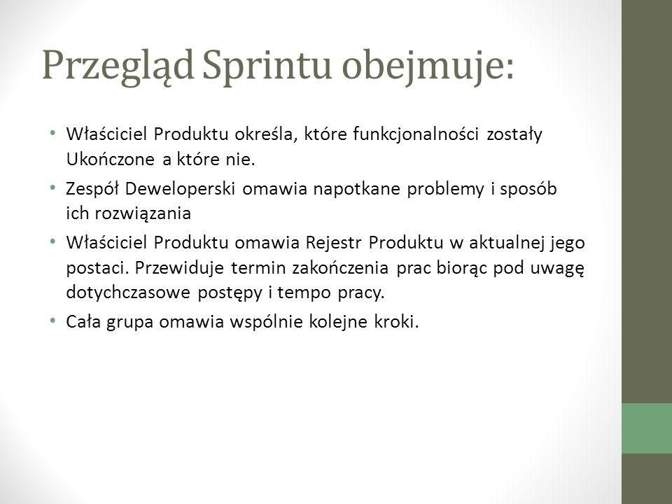 Przegląd Sprintu obejmuje: