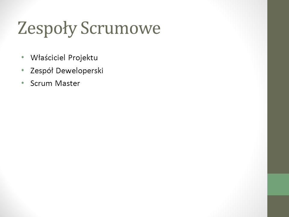 Zespoły Scrumowe Właściciel Projektu Zespół Deweloperski Scrum Master