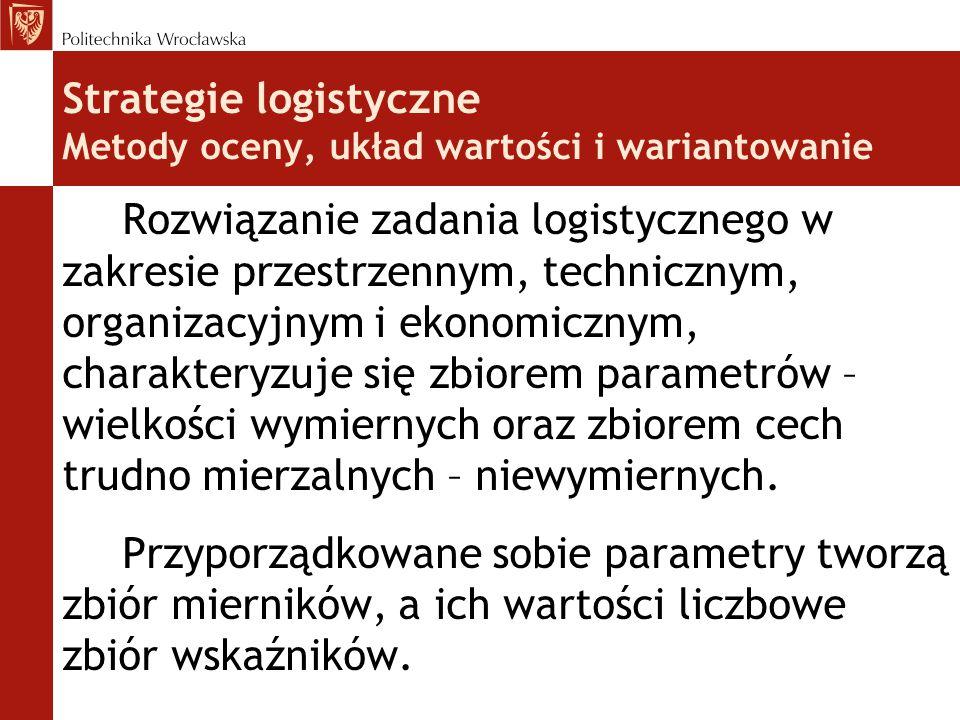 Strategie logistyczne Metody oceny, układ wartości i wariantowanie