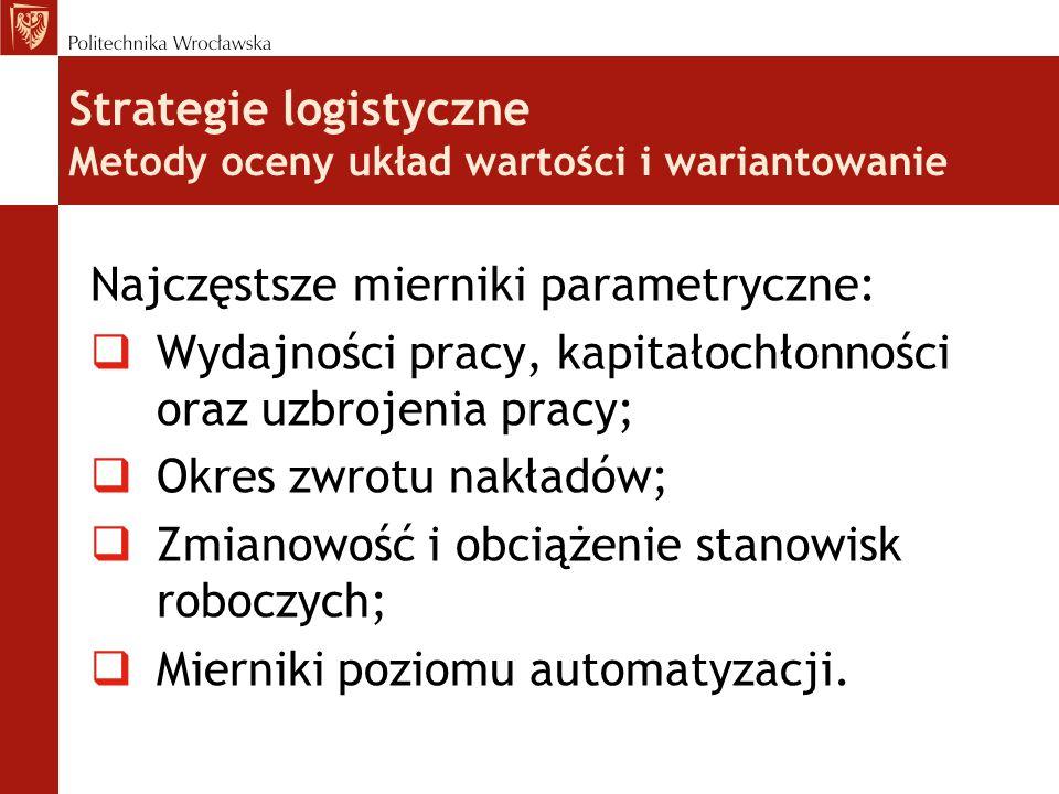 Strategie logistyczne Metody oceny układ wartości i wariantowanie