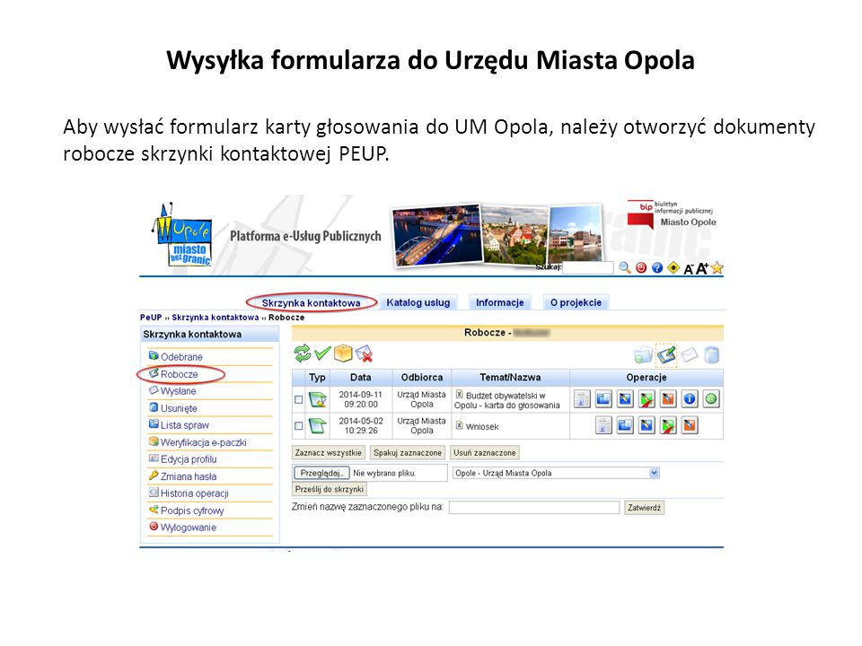 Wysyłka formularza do Urzędu Miasta Opola