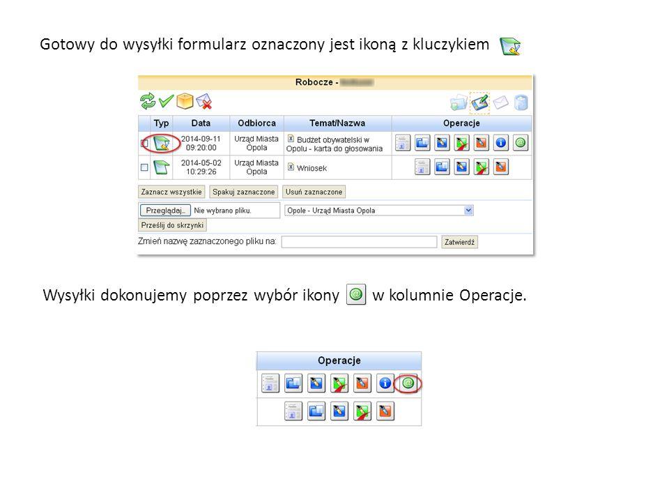 Gotowy do wysyłki formularz oznaczony jest ikoną z kluczykiem