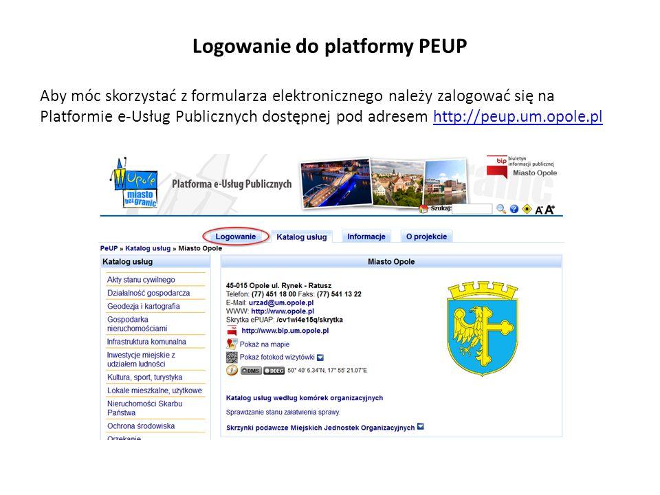 Logowanie do platformy PEUP