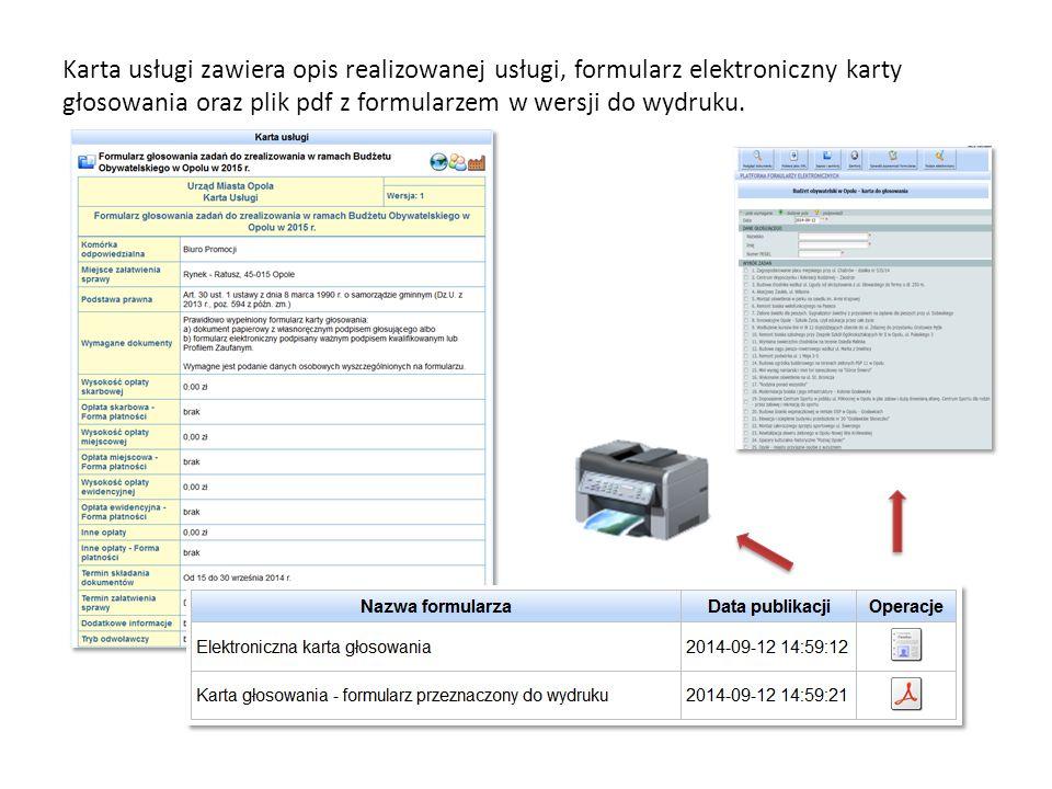 Karta usługi zawiera opis realizowanej usługi, formularz elektroniczny karty głosowania oraz plik pdf z formularzem w wersji do wydruku.