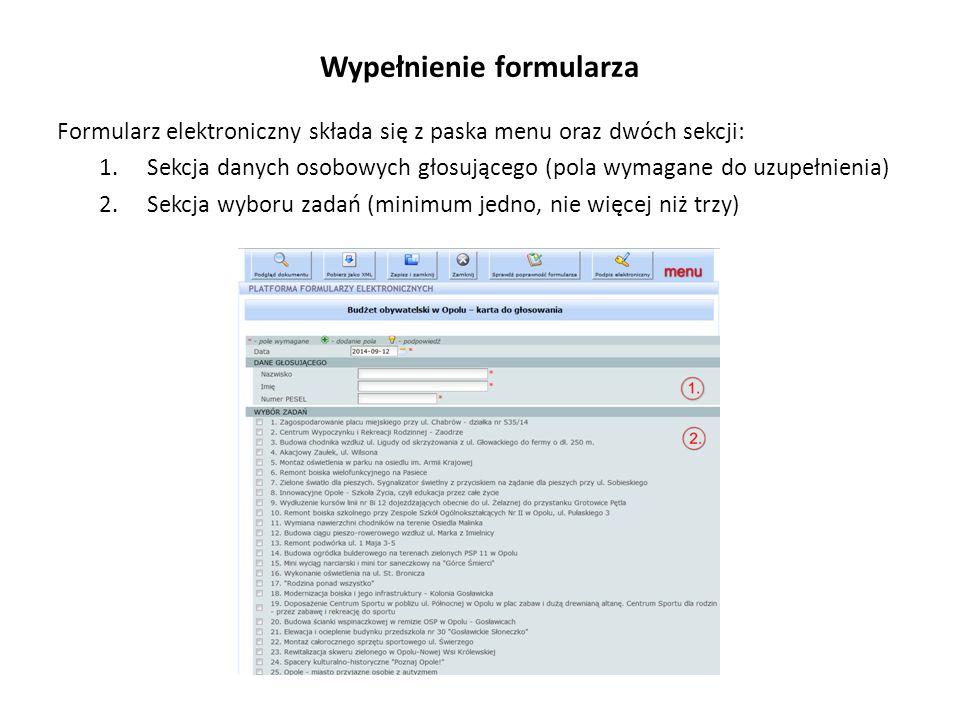 Wypełnienie formularza