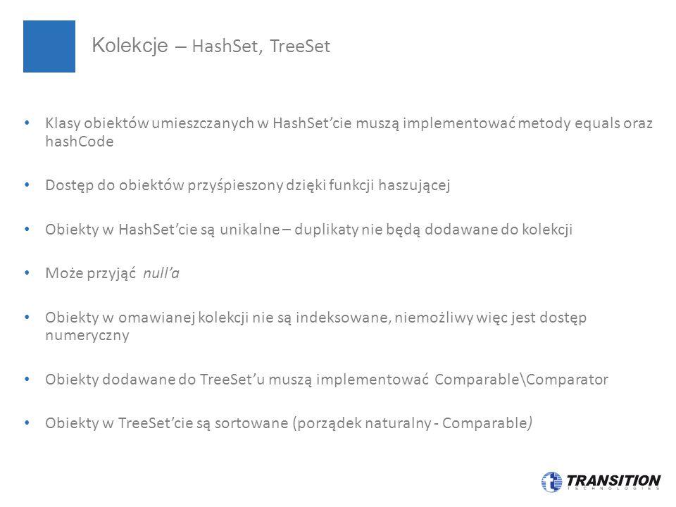 Kolekcje – HashSet, TreeSet