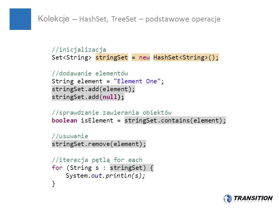 Kolekcje – HashSet, TreeSet – podstawowe operacje
