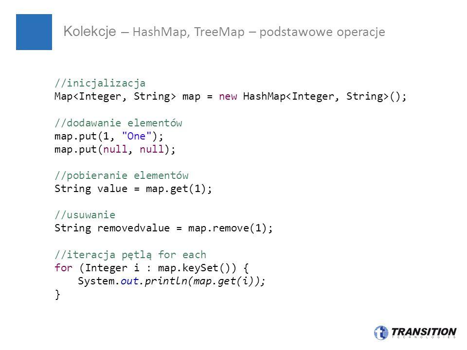 Kolekcje – HashMap, TreeMap – podstawowe operacje