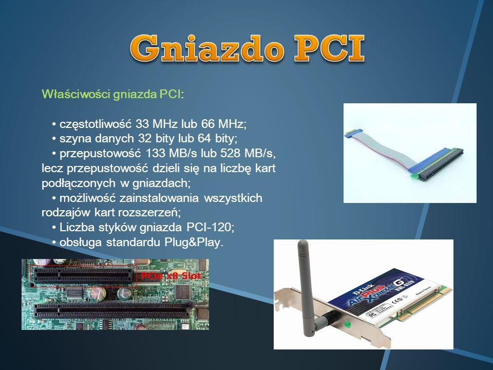 Gniazdo PCI Właściwości gniazda PCI: