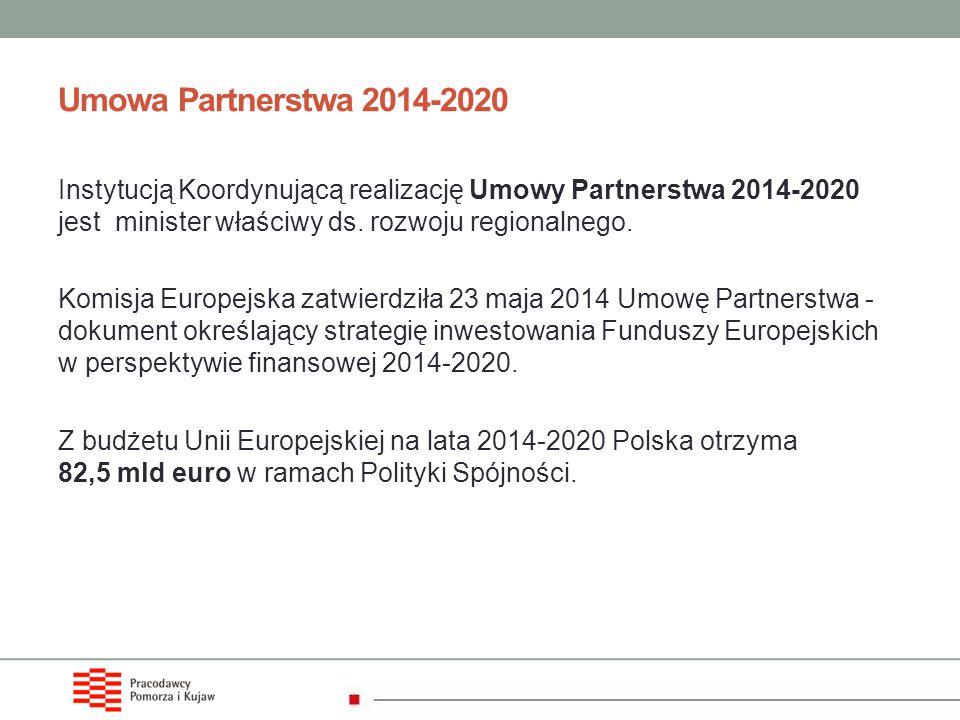 Umowa Partnerstwa 2014-2020 Instytucją Koordynującą realizację Umowy Partnerstwa 2014-2020 jest minister właściwy ds. rozwoju regionalnego.