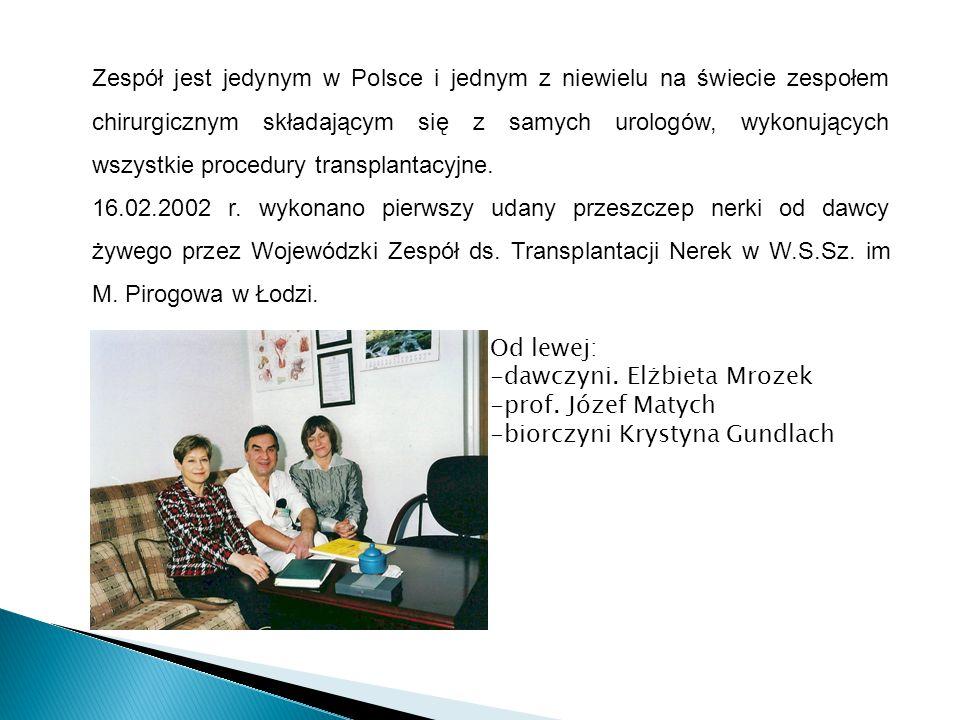 Zespół jest jedynym w Polsce i jednym z niewielu na świecie zespołem chirurgicznym składającym się z samych urologów, wykonujących wszystkie procedury transplantacyjne.