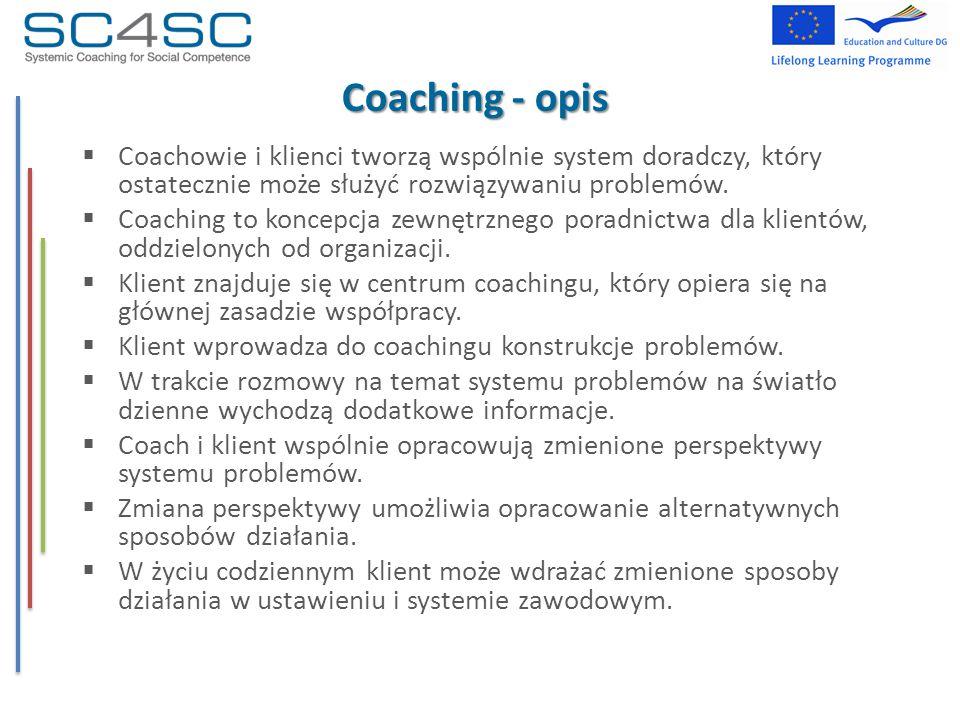 Coaching - opis Coachowie i klienci tworzą wspólnie system doradczy, który ostatecznie może służyć rozwiązywaniu problemów.