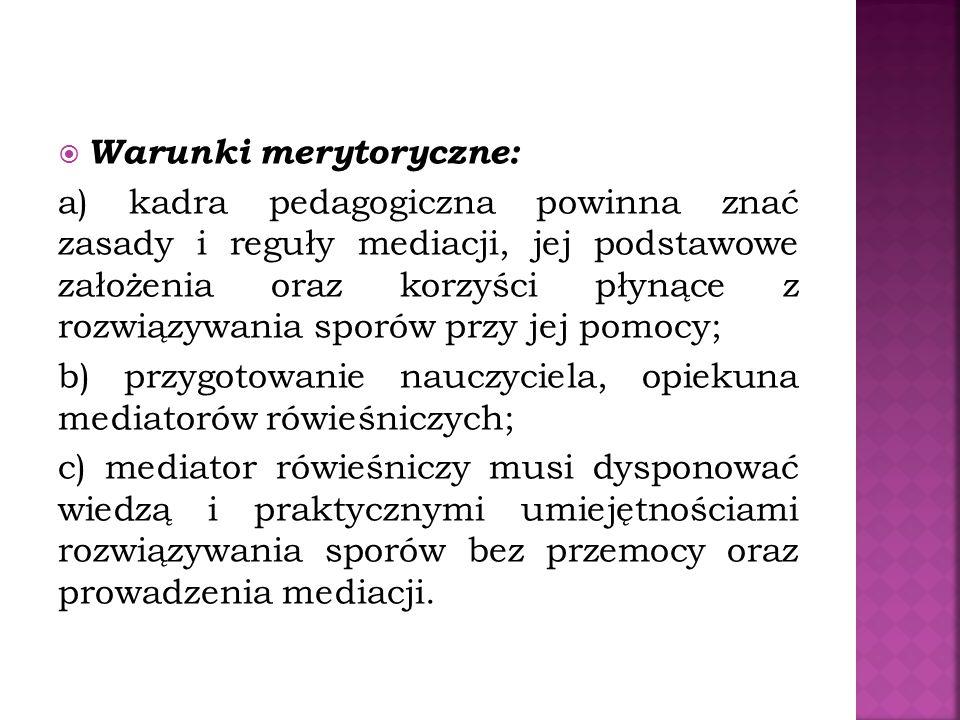 Warunki merytoryczne: