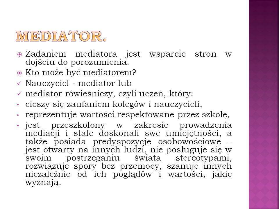Mediator. Zadaniem mediatora jest wsparcie stron w dojściu do porozumienia. Kto może być mediatorem
