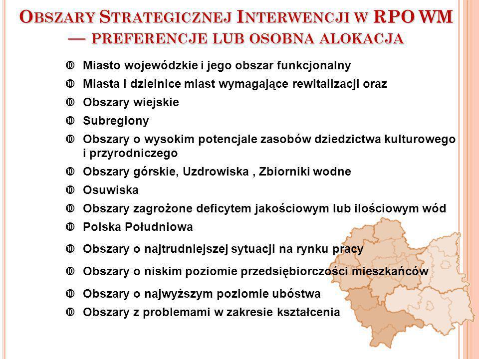 Obszary Strategicznej Interwencji w RPO WM — preferencje lub osobna alokacja