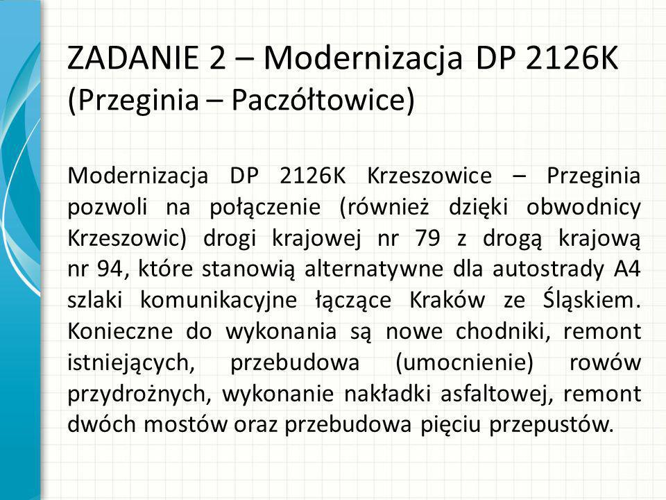 ZADANIE 2 – Modernizacja DP 2126K (Przeginia – Paczółtowice)