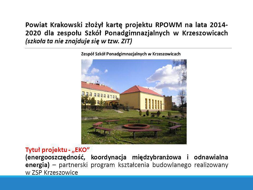 Powiat Krakowski złożył kartę projektu RPOWM na lata 2014-2020 dla zespołu Szkół Ponadgimnazjalnych w Krzeszowicach (szkoła ta nie znajduje się w tzw. ZIT)