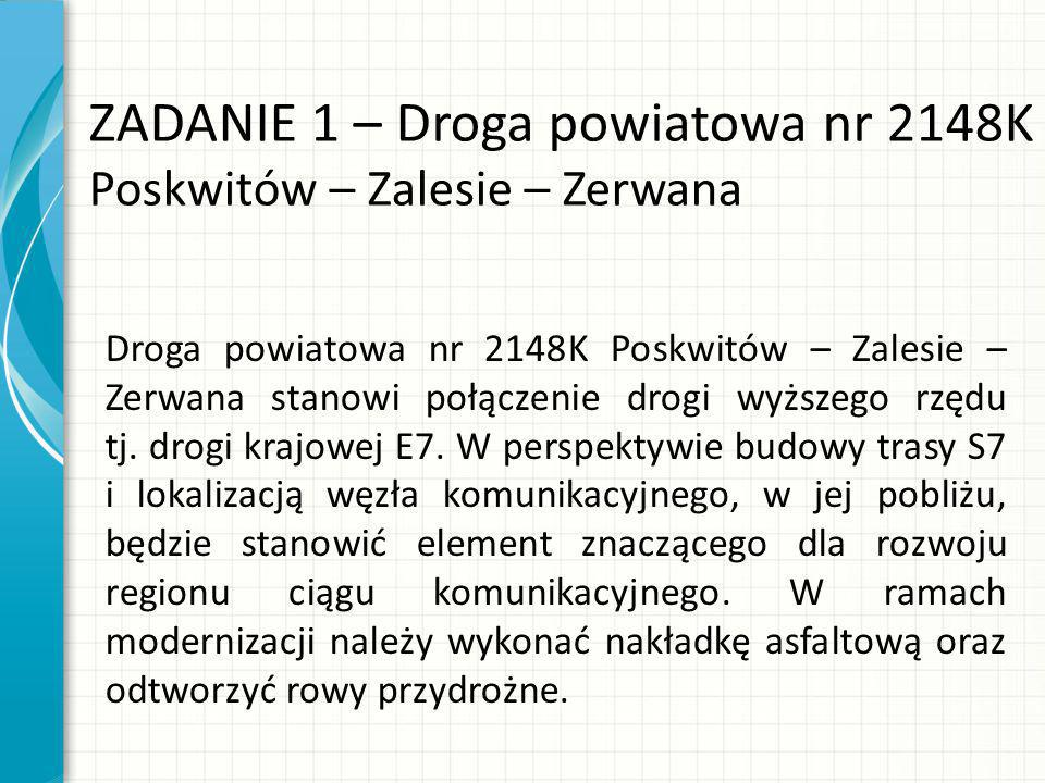 ZADANIE 1 – Droga powiatowa nr 2148K Poskwitów – Zalesie – Zerwana