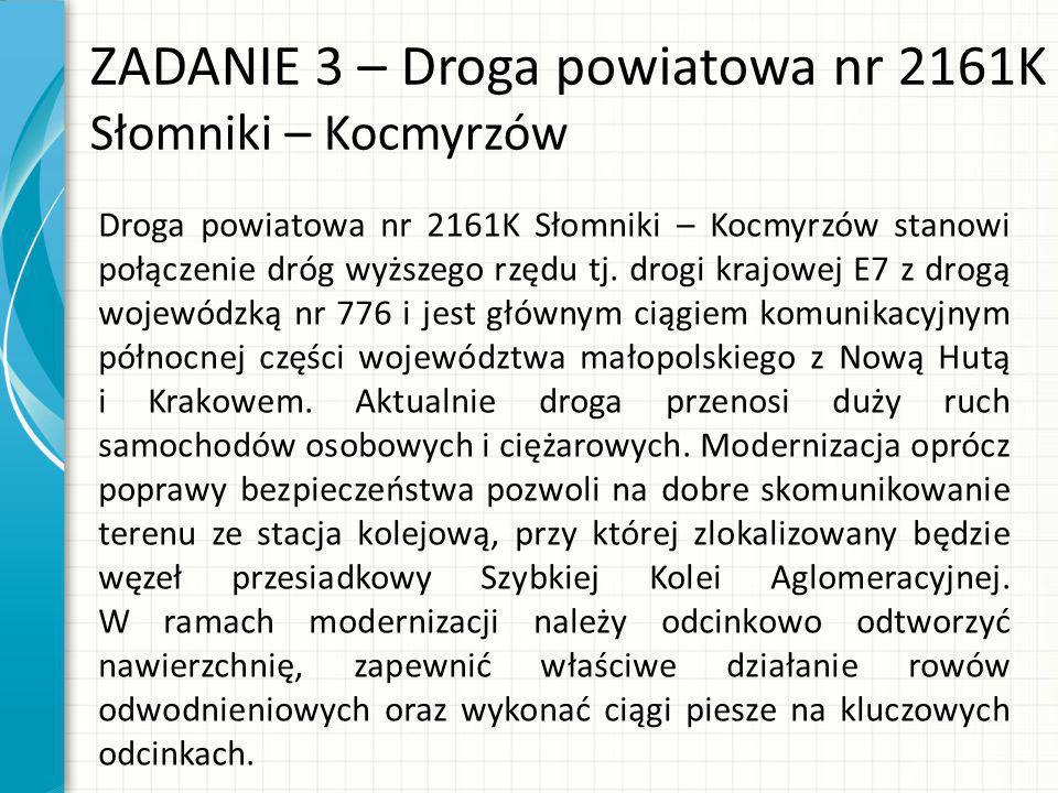 ZADANIE 3 – Droga powiatowa nr 2161K Słomniki – Kocmyrzów