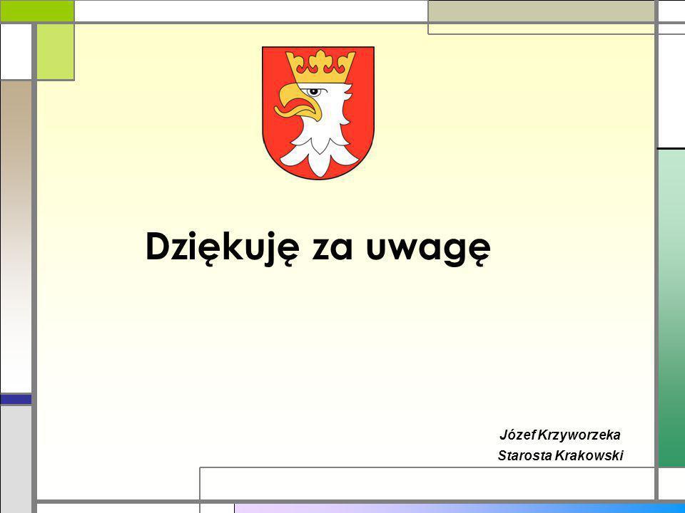 Dziękuję za uwagę Józef Krzyworzeka Starosta Krakowski