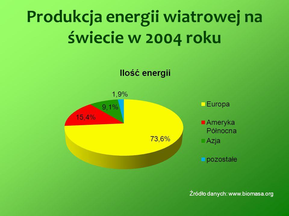 Produkcja energii wiatrowej na świecie w 2004 roku