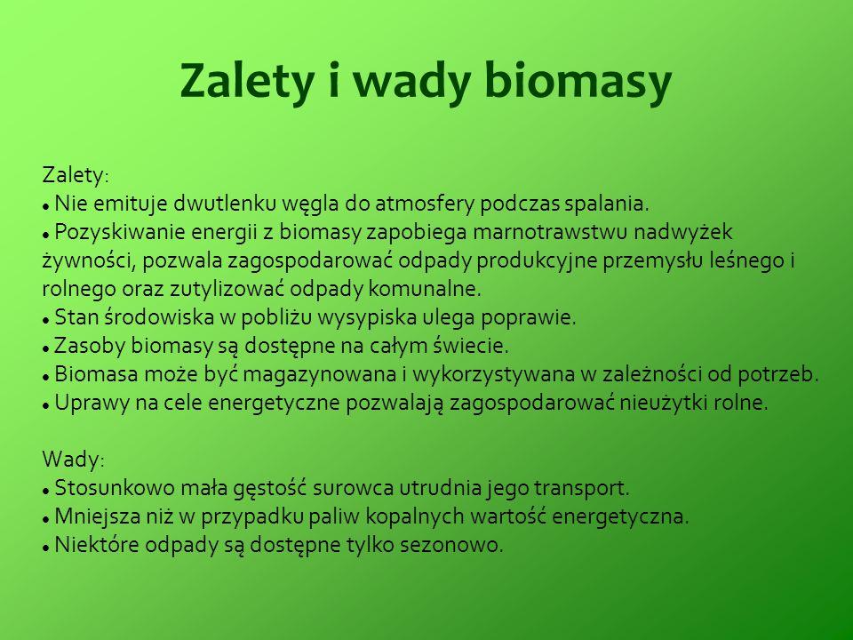 Zalety i wady biomasy Zalety: