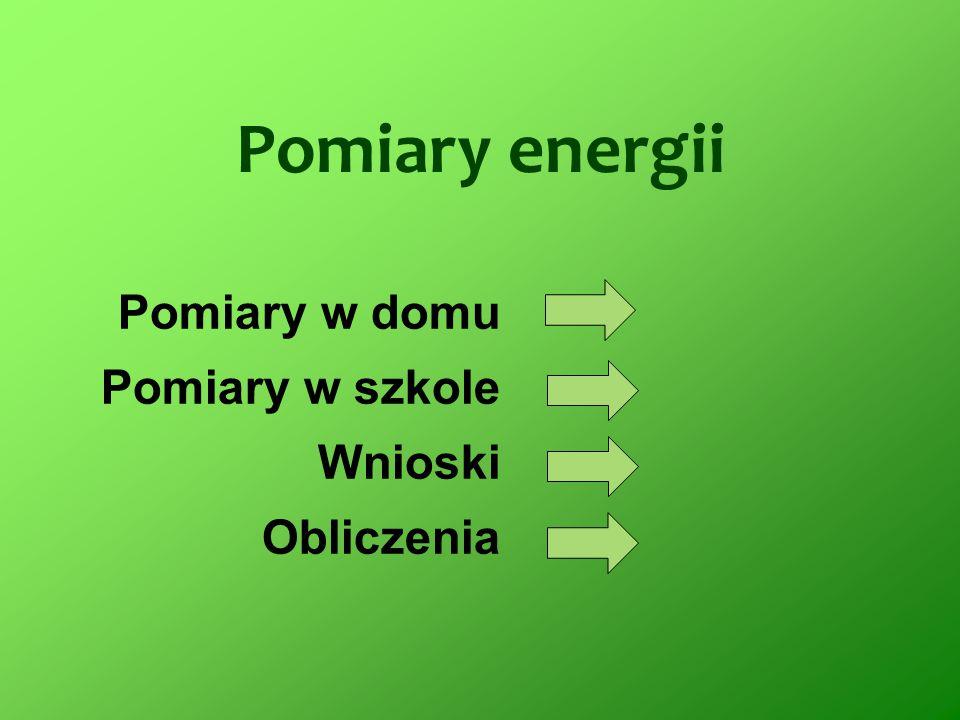 Pomiary energii Pomiary w domu Pomiary w szkole Wnioski Obliczenia