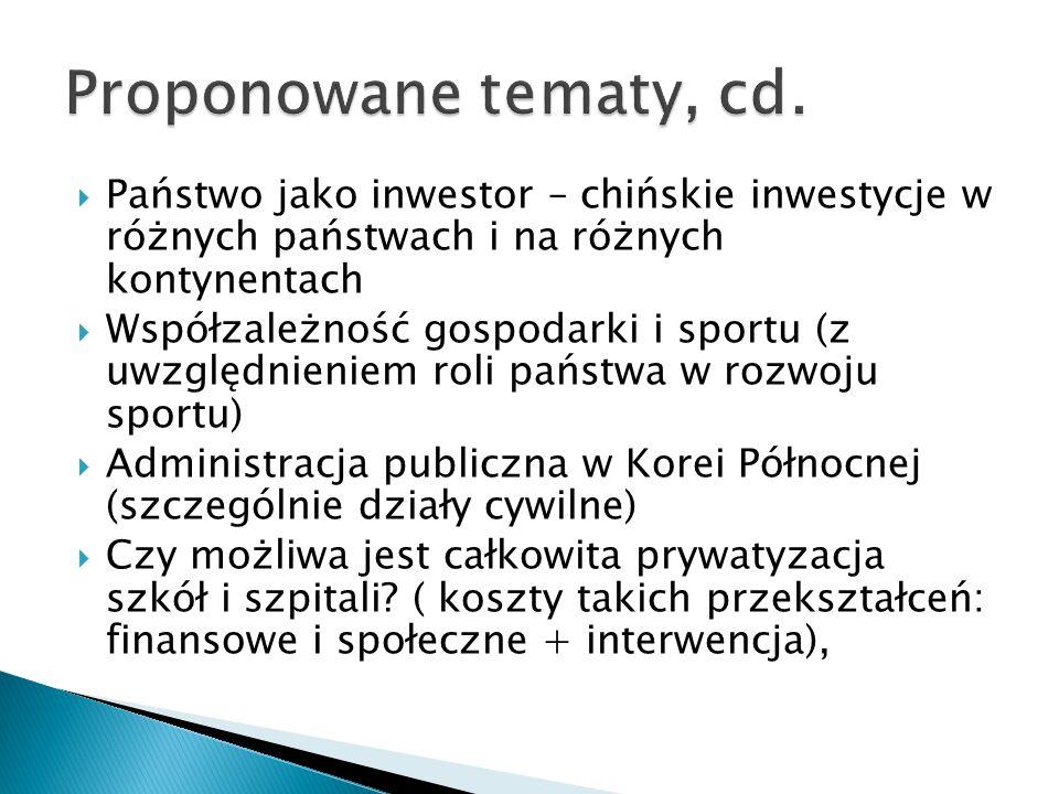 Proponowane tematy, cd. Państwo jako inwestor – chińskie inwestycje w różnych państwach i na różnych kontynentach.