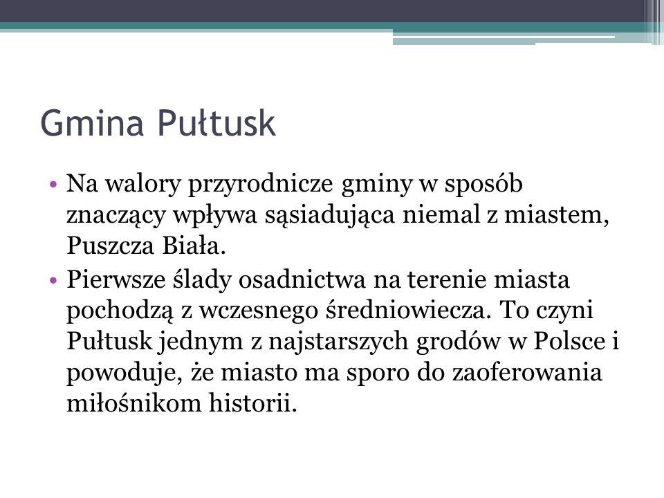 Gmina Pułtusk Na walory przyrodnicze gminy w sposób znaczący wpływa sąsiadująca niemal z miastem, Puszcza Biała.