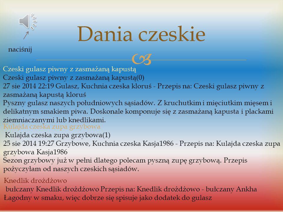 Dania czeskie naciśnij Czeski gulasz piwny z zasmażaną kapustą