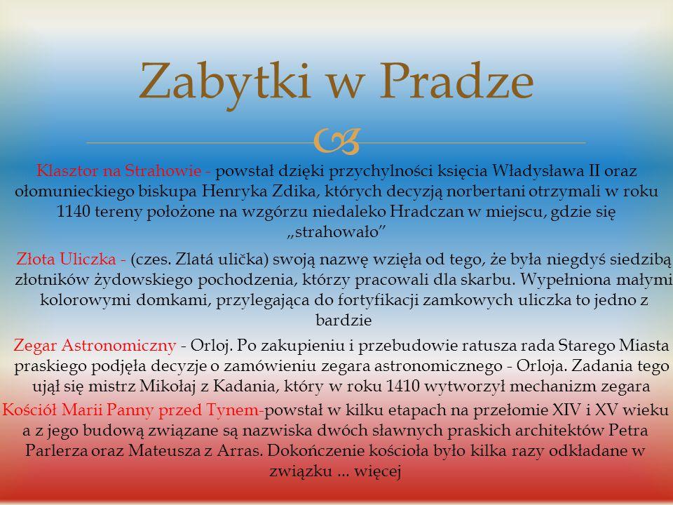 Zabytki w Pradze