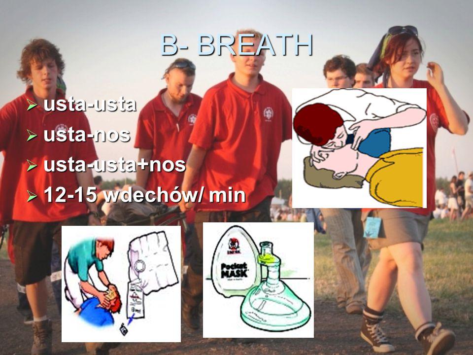 B- BREATH usta-usta usta-nos usta-usta+nos 12-15 wdechów/ min