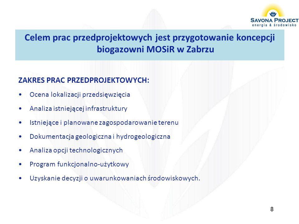 Celem prac przedprojektowych jest przygotowanie koncepcji biogazowni MOSiR w Zabrzu