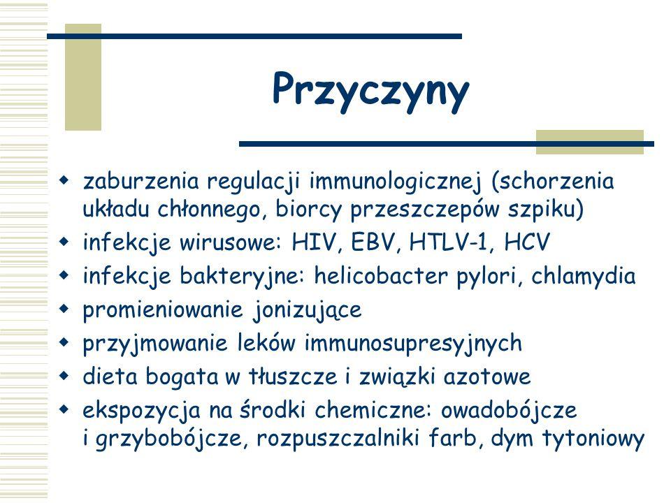 Przyczyny zaburzenia regulacji immunologicznej (schorzenia układu chłonnego, biorcy przeszczepów szpiku)