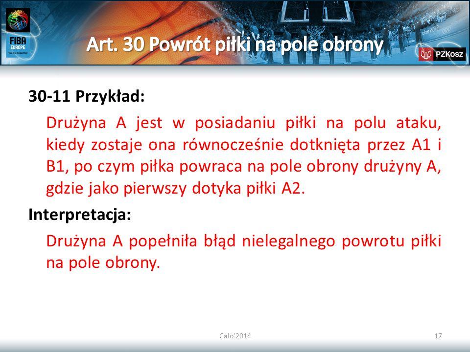 Art. 30 Powrót piłki na pole obrony