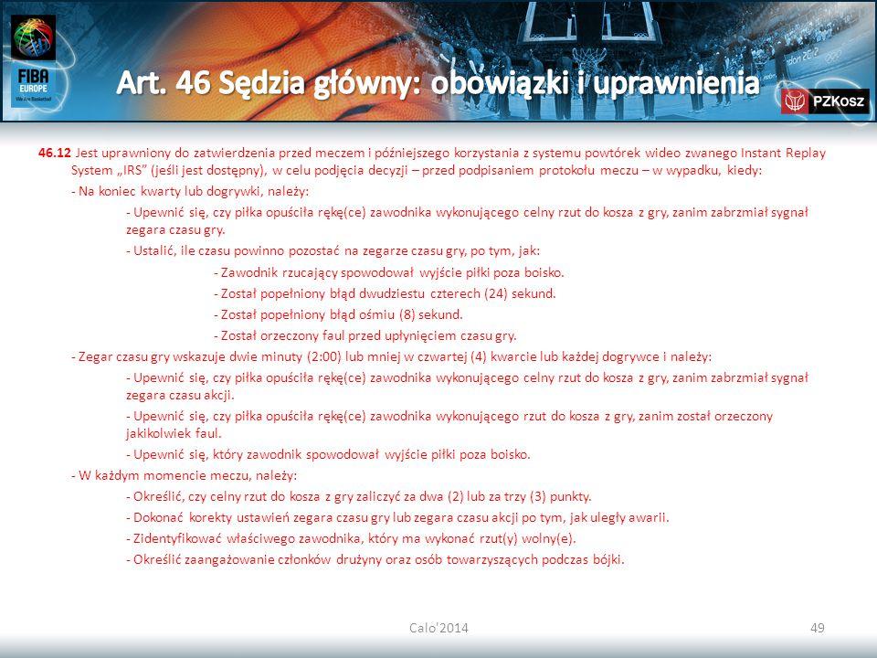Art. 46 Sędzia główny: obowiązki i uprawnienia