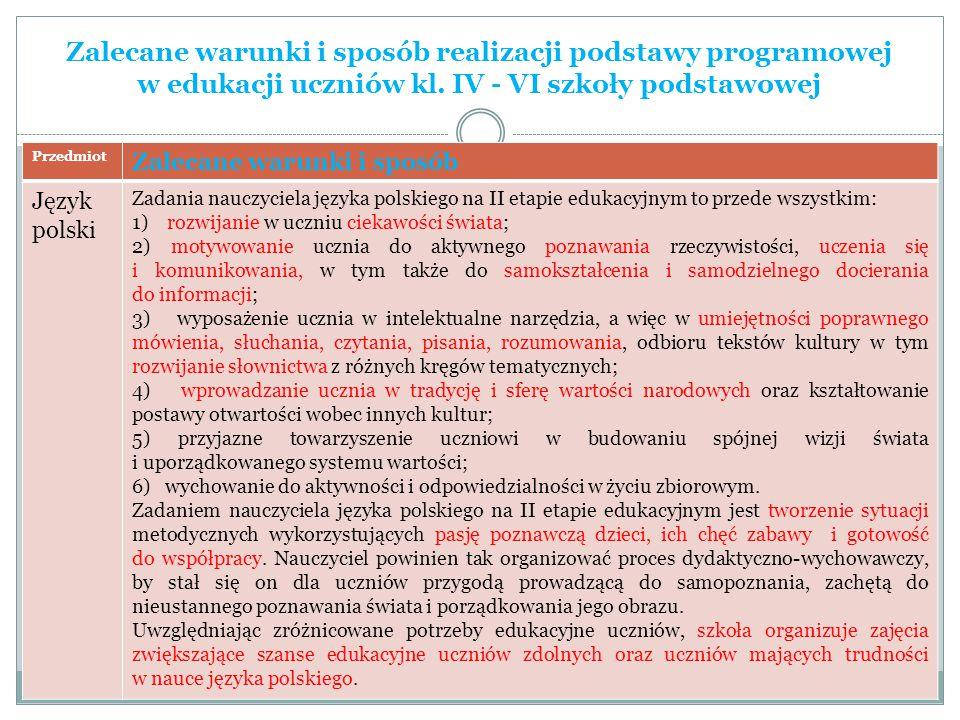 Zalecane warunki i sposób realizacji podstawy programowej w edukacji uczniów kl. IV - VI szkoły podstawowej